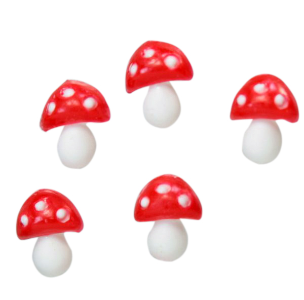 Red - Flatback Mushrooms - Medium -  Set of 10 - 203-3-2504